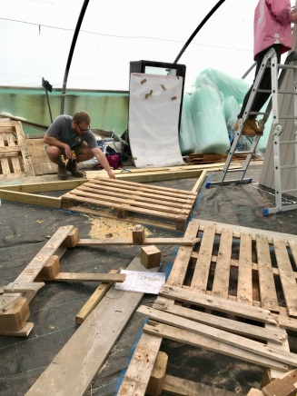 Steve making the wooden sub-floor that will support the paving for the Sparsholt show garden, at RHS Chelsea Flower Show 2019
