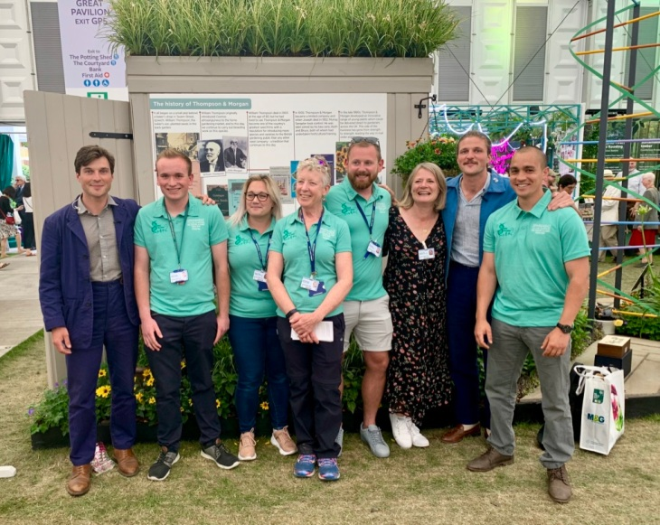 The Rich brothers, who were presenting coverage of the RHS Chelsea Flower Show 2019  came to visit Sparsholt's 'Behind the Genes' garden in the Great Pavilion.